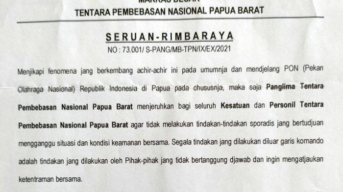 TPNPB OPM Terbitkan Maklumat Ke Seluruh KKB Jelang PON XX Papua 2021, Komnas HAM: Kami Apresiasi
