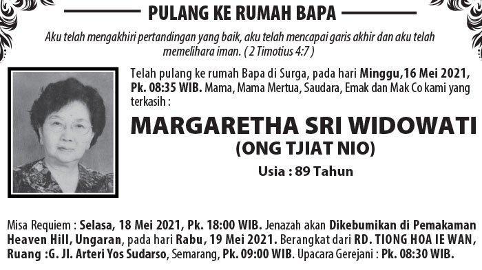 Berita Duka, Margaretha Sri Widowati  (Ong Tjiat Nio) Meninggal di Semarang