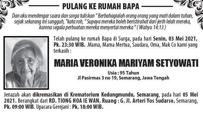 Berita Duka, Maria Veronika Mariyam Setyowati Meninggal Dunia di Semarang