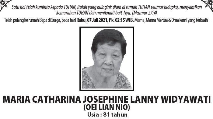 Berita Duka, Maria Catharina Josephine Lanny Widyawati (Oei Lian Nio) Meninggal di Semarang