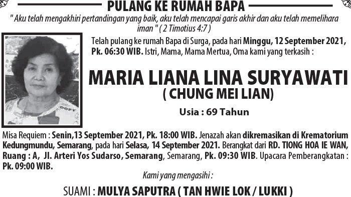 Kabar Duka, Maria Liana Lina Suryawati (Chung Mei Lian) Meninggal Dunia di Semarang