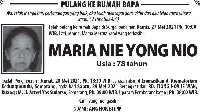Berita Duka, Maria Nie Yong Nio Meninggal Dunia di Semarang