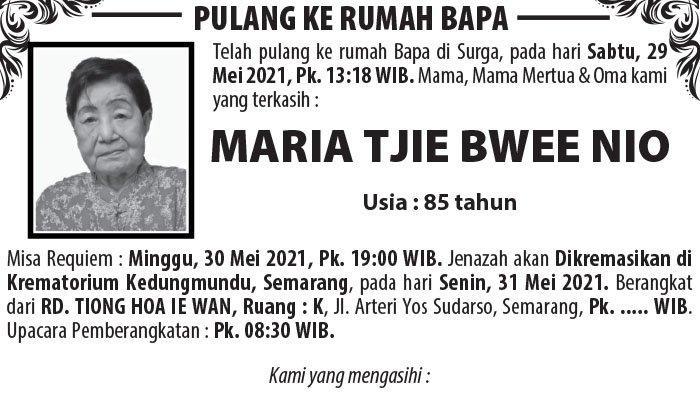Kabar Duka, Maria Tjie Bwee Nio Meninggal Dunia di Semarang