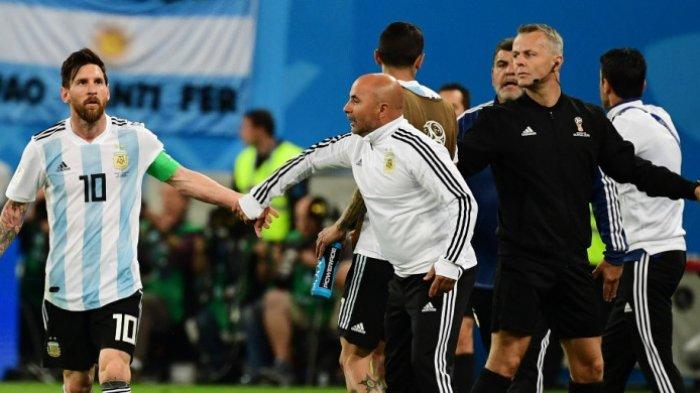 Di Balik Kemenangan Argentina Vs Nigeria - Pelatih Sampaoli Minta Izin Messi Masukkan Sergio Aguero