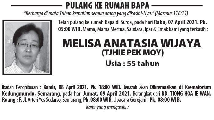 Kabar Duka, Melisa Anatasia Wijaya (Tjhie Pek Moy) Meninggal Dunia di Semarang