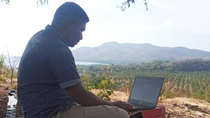 Demi Sinyal Internet, Guru di Flores Ini Harus Tempuh 15 Km Menuju Bukit