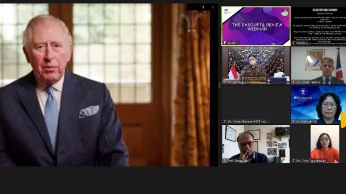 Menteri Koordinator Bidang Perekonomian, Airlangga Hartarto memberikan keynote speech pada Dasgupta Review on the Economics of Biodiversity yang diselenggarakan secara virtual oleh Kedutaan Besar Inggris di Indonesia pada Kamis (8/4/2021).  Webinar ini juga dihadiri oleh Pangeran Charles, Putra Mahkota Kerajaan Inggris dan Duta Besar Inggris untuk Indonesia (RI) dan Timor Leste, Owen Jenkins.