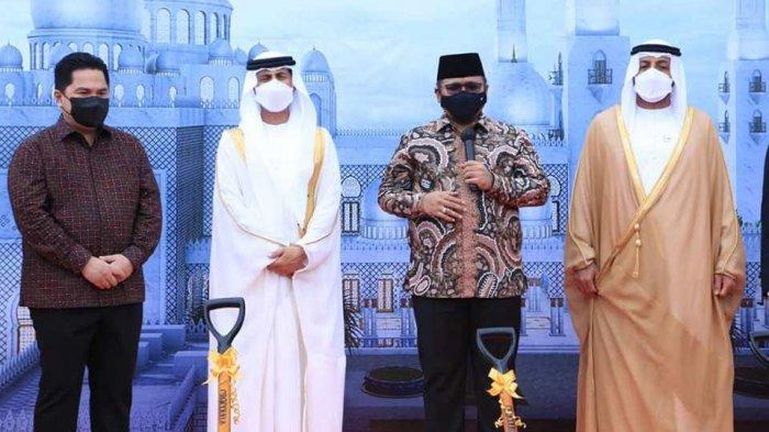 Menteri Agama Yaqut Cholil Qoumas saat ground breaking pembangunan Masjid Raya Sheikh Zayed Solo, Sabtu (6/3/2021)