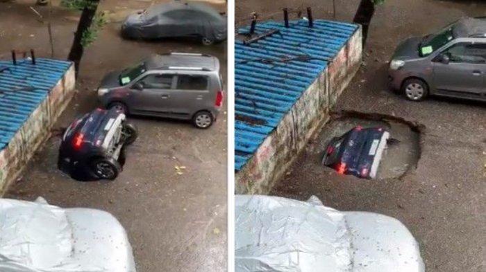 Detik-detik Mobil Masuk Lubang Sumur dan Tenggelam Saat Parkir