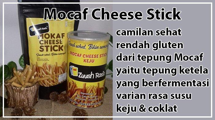 Mocaf Cheese Stick , camilan sehat rendah gluten dari tepung Mocaf yaitu tepung ketela yang berfermentasi, varian rasa susu, keju & coklat