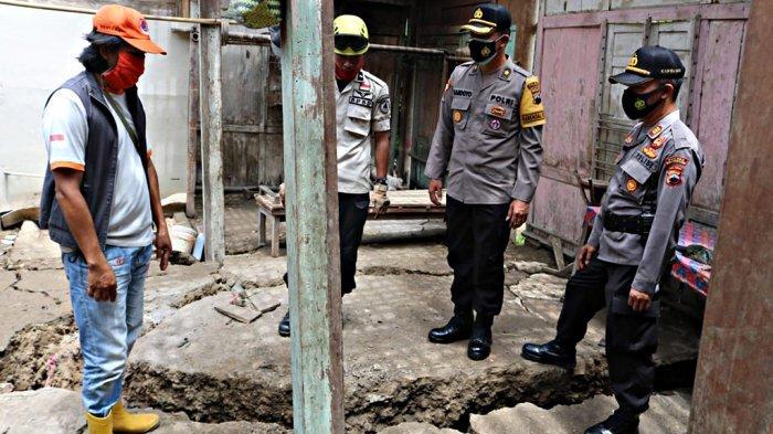 Musibah Tanah Bergerak Desa Glempang Banjarnegara Berpola Tapal Kuda, Garis Polisi Segera Dipasang