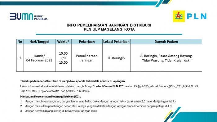 Info Pemeliharaan Jaringan Listrik PLN ULP Magelang Kota Kamis 4 Februari 2021