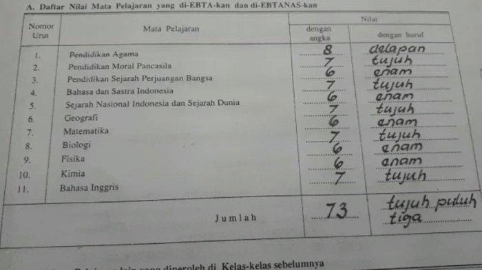 Nilai ujian EBTA dan Ebtanas dari Jozeph Paul Zhang atau yang bernama asli Shindy Paul Soerjomoeljono.