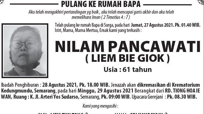 Kabar Duka, Nilam Pancawati (Liem Bie Giok) Meninggal Dunia di Semarang