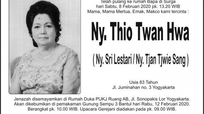 Berita Duka, Sri Lestari (Ny Thio Twan Hwa) Meninggal Dunia di Yogyakarta