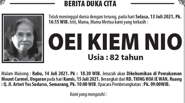 Berita Duka, Oei Kiem Nio Meninggal Dunia di Semarang