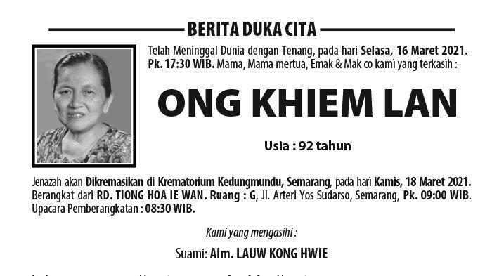 Kabar Duka, Ong Khiem Lan Meninggal Dunia di Semarang