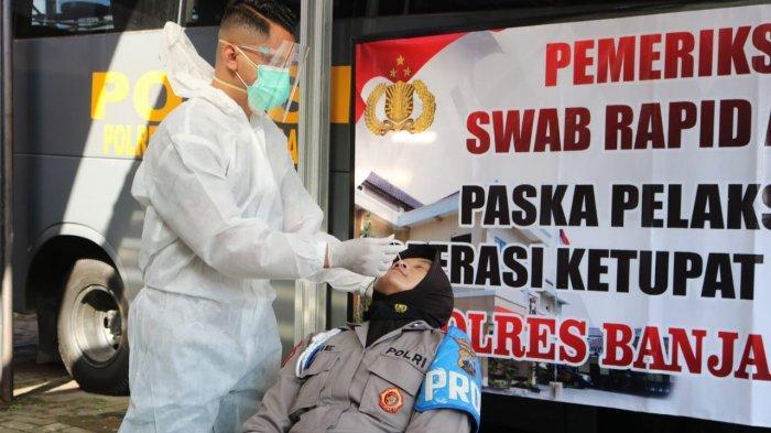 Operasi Ketupat Candi Berakhir, Anggota Polres Banjarnegara Dites Swab Antigen