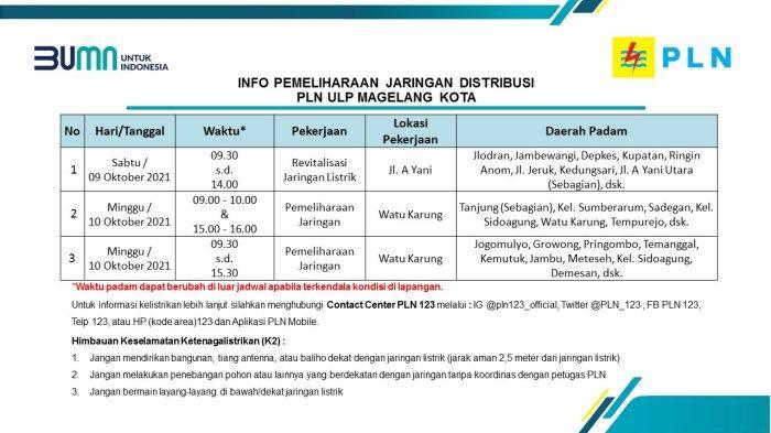 Info Pemeliharaan Jaringan Listrik PLN ULP Magelang Kota Sabtu 9 Oktober 2021