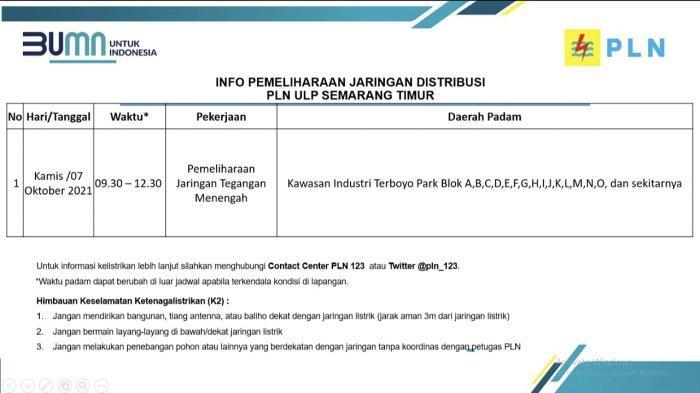 Info Pemeliharaan Jaringan Listrik Terboyo PLN ULP Semarang Timur Kamis 7 Oktober 2021