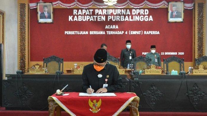 Rapat Paripurna Virtual Pemkab Purbalingga dan DPRD Setujui 4 Raperda