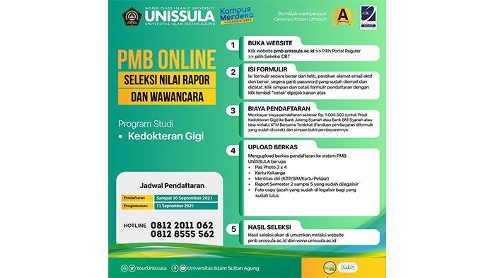 PMB Kedokteran Gigi Unissula Semarang Buka hingga 10 September