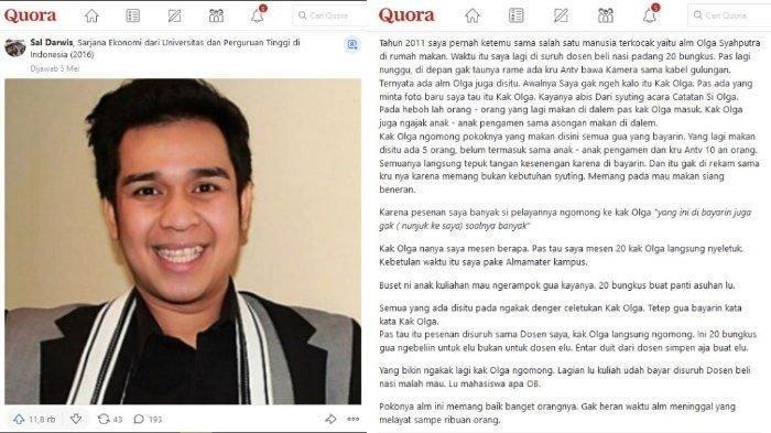 Viral Pengalaman Lucu Netizen Bertemu Olga Syahputra di Warung Makan