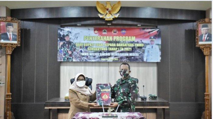 Bupati Tegal Umi Azizah Buka Program TMMD Sengkuyung Tahap I