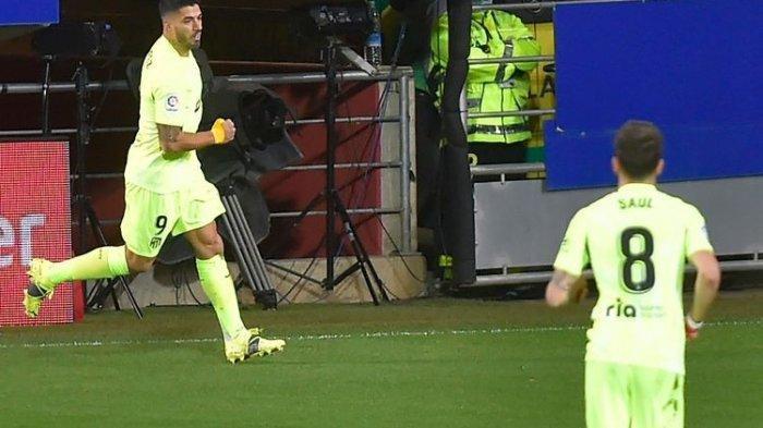 Hasil La Liga Spanyol Tadi Malam Eibar Vs Atletico Madrid, Penalti Luis Suarez Tentukan Kemenangan