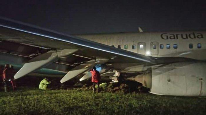 BREAKING NEWS, Pesawat Garuda Tergelincir di Bandara Adi Sucipto
