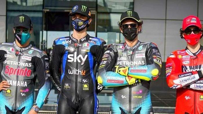 Sebagian dari wakil Italia pada kejuaraan dunia MotoGP 2021 (dari kiri ke kanan), Franco Morbidelli, Luca Marini, Valentino Rossi, dan Francesco Bagnaia.