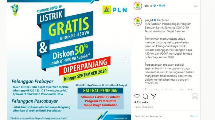 Program Token Listrik Gratis & Diskon Daya 450 VA/900 VA Subsidi Diperpanjang hingga September