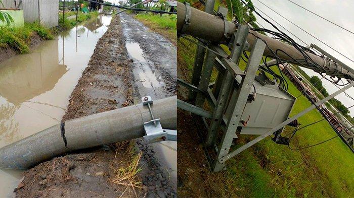Beberapa tiang listrik roboh karena pohon tumbang. Imbasnya pasokan listrik di Desa Tasikrejo mengalami padam.