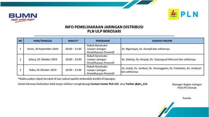 Info Pemeliharaan Jaringan Listrik PLN ULP Wirosari Hari Ini, Rabu 2 Oktober 2019