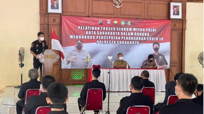 Pelatihan tracer yang diselenggarakan Polresta Solo kepada Senkom Mitra Polri di Pendopo Kelurahan Manahan, Senin (28/6/2021).