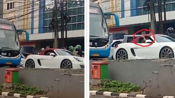 Viral Porsche Putih Masuk Jalur BRT Transjakarta, Keluarkan Tangan Suruh Bus Mundur