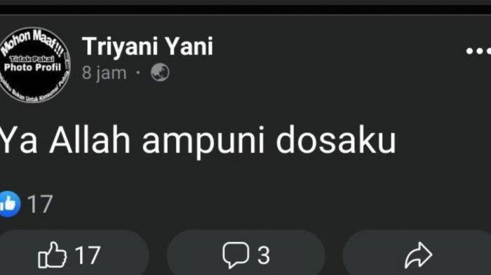 Postingan Facebook milik korban yang ditemukan ganting diridi rumahnya yang berada di lingkungan Bandungan Wetan RT 8 RW 3 Kelurahan Kajen, Kecamatan Kajen, Kabupaten Pekalongan, Jawa Tengah.
