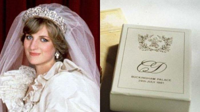 Potongan kue pernikahan Putri Diana yang berusia 37 tahun dilelang. (Kolase mirror.co.uk)
