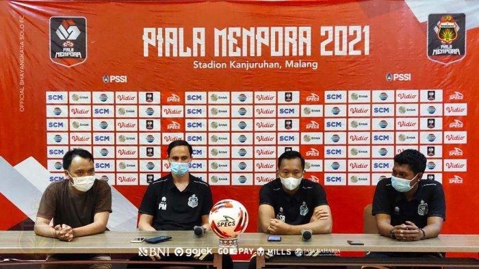 Ilustrasi perwaklan Bhayangkara Solo FC jumpa media pada Piala Menpora 2021.