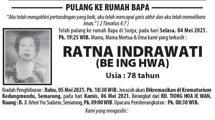 Kabar Duka, Ratna Indrawati (Be Ing Hwa) Meninggal di Semarang