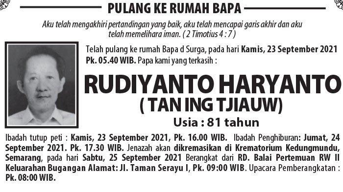 Berita Duka, Rudiyanto Haryanto (Tan Ing Tjiauw) Meninggal Dunia di Semarang