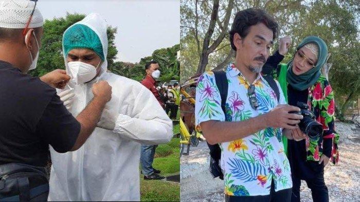 Rina Gunawan dimakamkan di TPU Tanah Kusir, sang suami Teddy Syach pakai APD lengkap untuk ikuti prosesi.