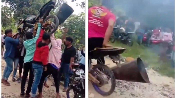 Viral Ritual Tolak Balak Sambil Angkat Motor Sebelum Balapan