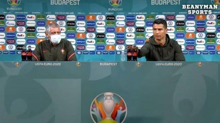 Ronaldo Singkirkan Botol Cola Sponsor Euro 2020 Dalam Konferensi Pers, Akankah Dapat Hukuman UEFA?