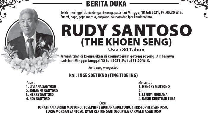 Berita Duka, Rudy Santoso (The Khoen Seng) Meninggal Dunia di Semarang