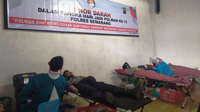 Sambut HUT ke 72 Polwan, Polres Semarang Gelar Donor Darah Libatkan Ratusan Anggota