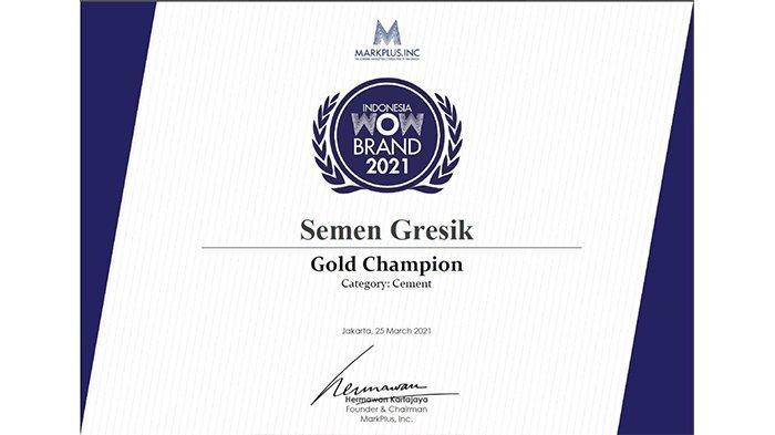 Sabet Gold Champion, Semen Gresik Berjaya di Ajang WOW Brand 2021