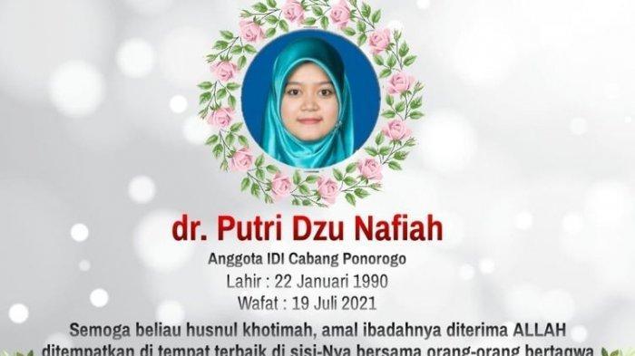 Kabar Duka, Dokter Putri Dzu Nafiah Meninggal Terpapar Corona, Kondisi Hamil 7 Bulan