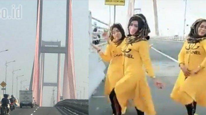 Viral Video 3 Emak-emak Joget Main TikTok di Jembatan Suramadu,Ini Pengakuannya di Kantor Polisi