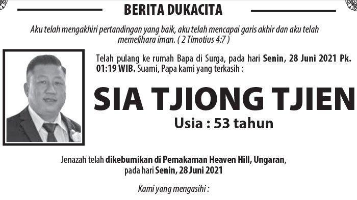 Kabar Duka, Sia Tjiong Tjien Meninggal Duka di Semarang
